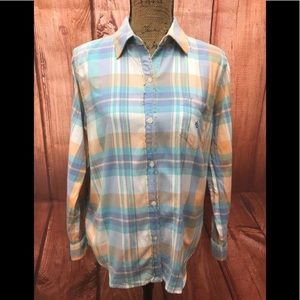 Ralph Lauren button down long sleeve plaid top